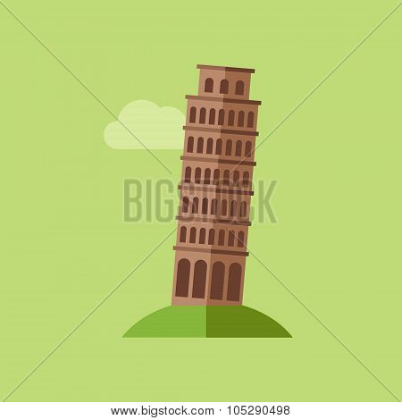 Tower of Pisa Vector Illustration
