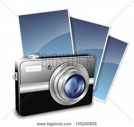 Digital Compact Photo Camera And Photos. Vector Illustration