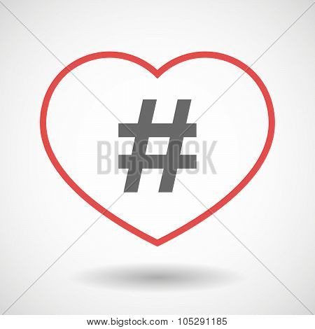 Line Heart Icon With A Hash Tag