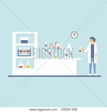 Healthcare Laboratory Testing Room, Flat Design Vector Illustration