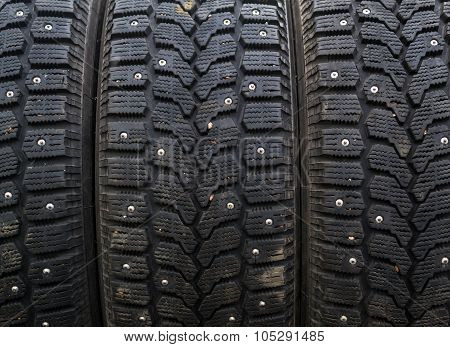 Row Of Car Winter Snow Tyres