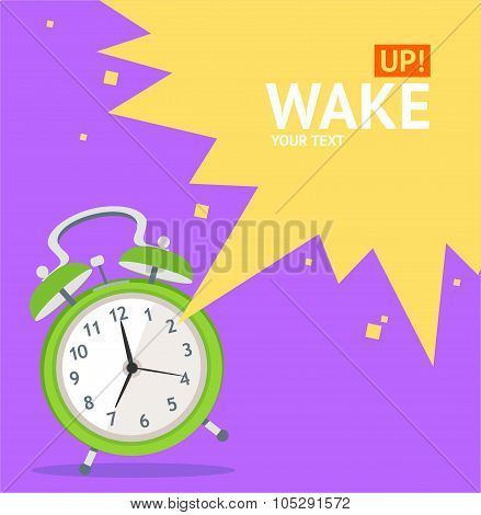 Wake Up Clock Concept Card. Vector