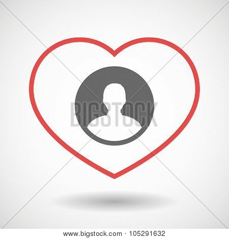 Line Heart Icon With A Male Avatar