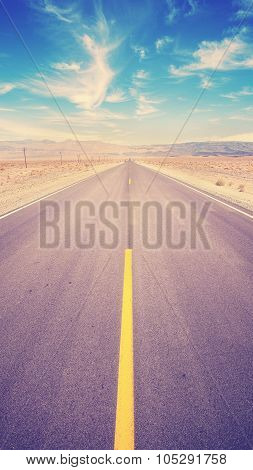 Retro Vintage Toned Desert Highway, Usa.