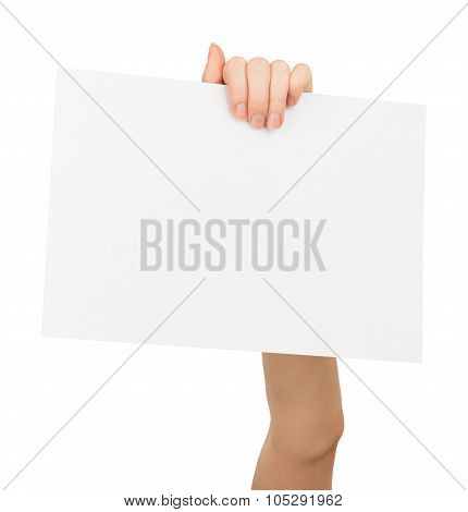 Humans left hand holding big blank card