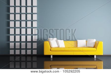 Interior With Sofa 3D Rendering