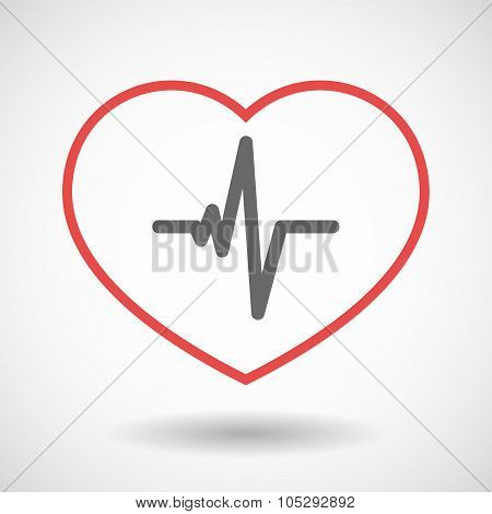 Line Heart Icon With A Heart Beat Sign