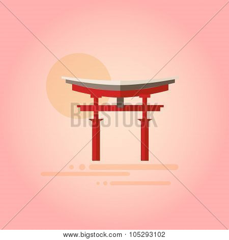 Japanese Pagoda in Flat Design