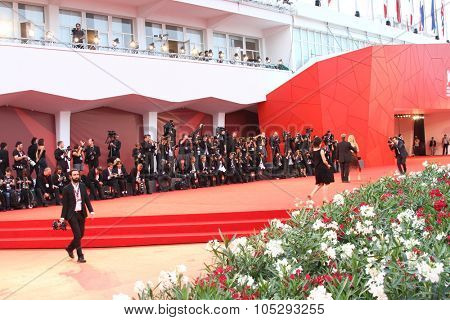 VENICE, ITALY - SEPTEMBER 08: The Palace of Cinema  and photographers during the 68th Venice Film Festival, Sept 08  2011 in Venice, Italy.