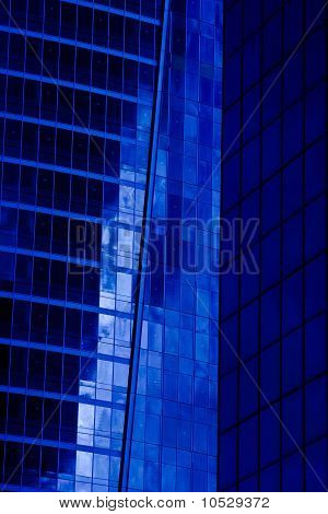 Modern blue building of the future