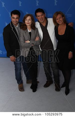 BERLIN, GERMANY - FEBRUARY 12: Sid Lucero, Isabelle Huppet, Brillante Mendoza attend the 'Captive' Photocall during of the 62 Berlin Festival at the Grand Hyatt on February 12, 2012 in Berlin, Germany