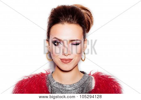 Fashion Beauty Woman Portrait. Stylish Haircut And Makeup