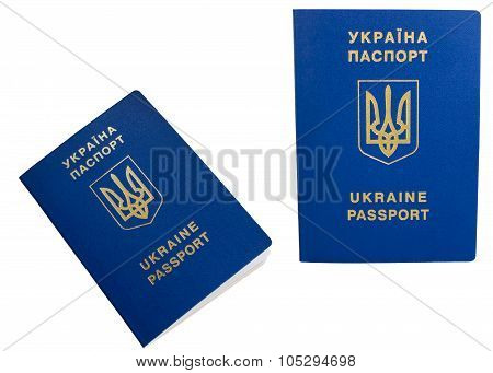 Ukrainian Foreign Passport, Isolated On White Background.
