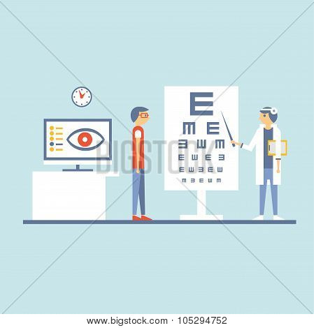 At Ophthalmologist Vector Illustartation in Flat Design