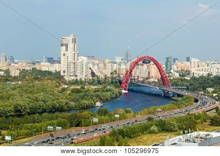 Red Arch Bridge In Moscow,  Russia.