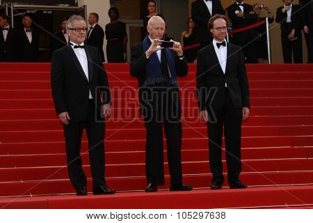 CANNES, FRANCE - MAY 17: Thierry Fremaux and Gilles Jacob attend the 'De Rouille et D'os' Premiere during the 65th Cannes Film Festival at Palais des Festivals on May 17, 2012 in Cannes, France.