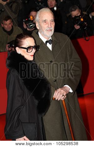 BERLIN, GERMANY - FEBRUARY 13: Christopher Lee, wife Birgit Kroencke attends the 'Night Train to Lisbon' Premiere during the Berlinale Festival at the Palast on February 13, 2013 in Berlin, Germany.
