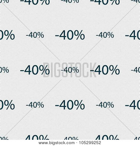 40 Percent Discount Sign Icon. Sale Symbol. Special Offer Label. Seamless Abstract Background With G