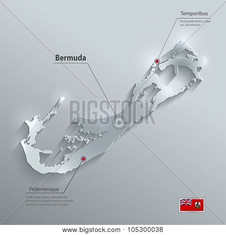 Bermuda island map flag glass card paper 3D vector