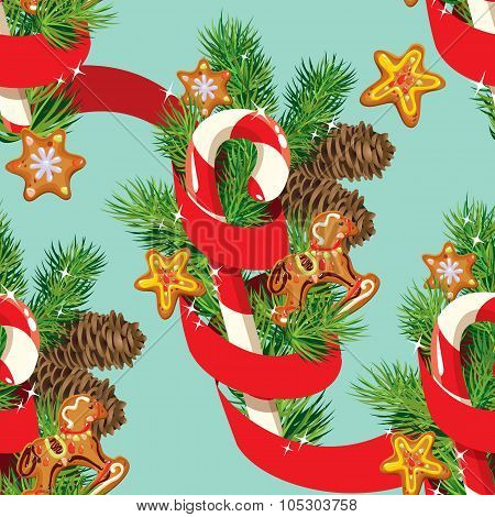 Seamless Christmas Pattern With  Xmas Gingerbread, Candy, Red Ribbon And Fir Tree Branches. Backgrou