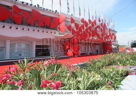 VENICE - AUGUST 28: Red Carpet at the entrance of Palazzo del Cinema, waiting for the next celebrity at  Venice Film Festival on August 28, 2013 in Venice, Italy.
