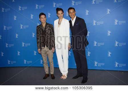 BERLIN, GERMANY - FEBRUARY 08: Nick Cheung,  Daniel Wu attend 'That Demon Within' (Mo Jing) photocall during 64th Berlinale Film Festival at Grand Hyatt Hotel on February 8, 2014 in Berlin, Germany.