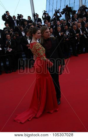 CANNES, FRANCE - MAY 15: Christophe Guillarme; Sarah Barzyk attend the 'Mr.Turner' Premiere at the 67th Annual Cannes Film Festival on May 15, 2014 in Cannes, France.