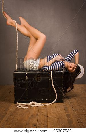 Adorable Woman Sailor In Pinup Style