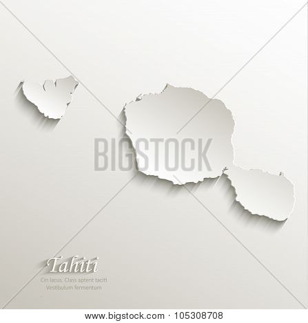 Tahiti map card paper 3D natural vector French Polynesia