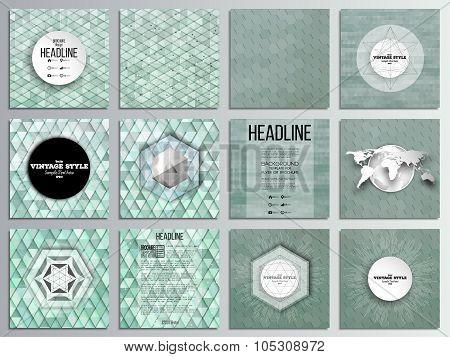 Set of 12 creative cards, square brochure template design. Sea landscape. Abstract multicolored back