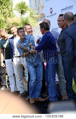 CANNES, FRANCE - MAY 18: Sylvester Stallone, Antonio Banderas attend a photocall for 'The Expendables 3' at the Carlton Hotel on May 18, 2014 in Cannes, France.