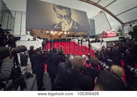 CANNES, FRANCE - MAY 15: Photographers attend the 'Mr.Turner' Premiere at the 67th Annual Cannes Film Festival on May 15, 2014 in Cannes, France.