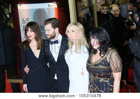 BERLIN, GERMANY - FEBRUARY 11: Jamie Dornan Dakota, Johnson and attend the 'Fifty Shades of Grey' premiere during the 65th Berlinale Festival at Zoo Palast on February 11, 2015 in Berlin, Germany.