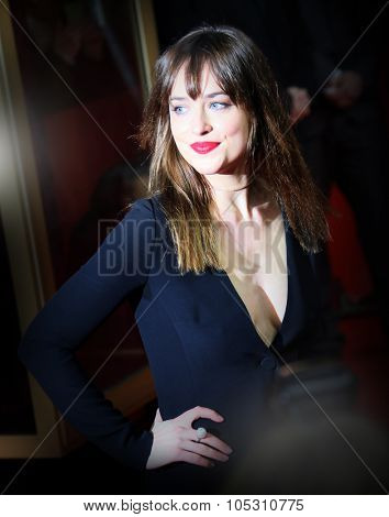 BERLIN, GERMANY - FEBRUARY 11: Dakota Johnson  attends the 'Fifty Shades of Grey' premiere during the 65th Berlinale Film Festival at Zoo Palast on February 11, 2015 in Berlin, Germany.