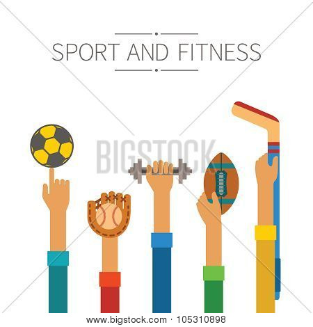 Raised Hands With Sports Equipment Concept In Flat Style
