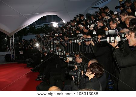 Photographer attends a photocall for the winners of the Palm D'Or during the 68th annual Cannes Film Festival on May 24, 2015 in Cannes, France.