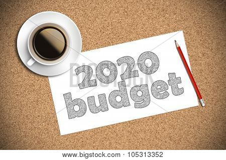 Coffee And Pencil Sketch 2020 Budget On Paper