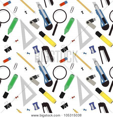 Stationery tools pattern. Color