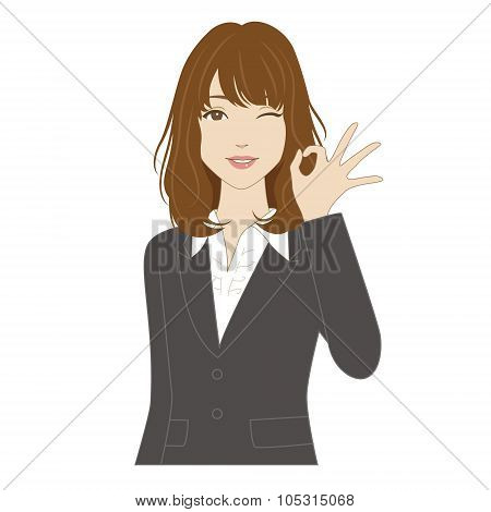 Winking Woman With Okey Sign