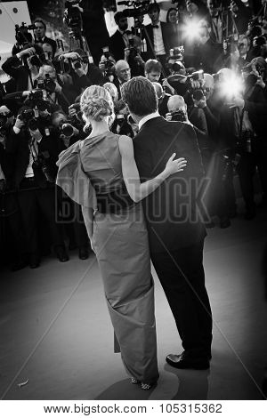 Josh Brolin & fiance Kathryn Boyd  attend the 'Sicario' premiere during the 68th annual Cannes Film Festival on May 19, 2015 in Cannes, France.