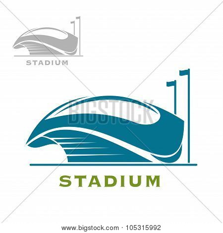 Blue sport stadium building with open roof