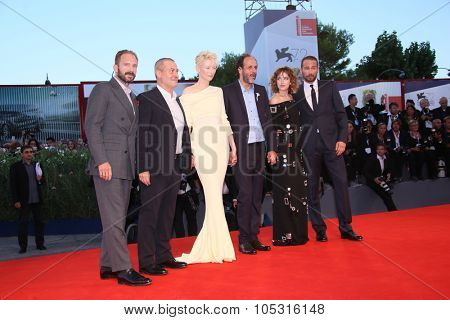 Matthias Schoenaerts, Dakota Johnson, Luca Guadagnino, Ralph Fiennes attend a premiere for 'A Bigger Splash' during the 72nd Venice Film Festival at Sala Grande on September 6, 2015 in Venice, Italy.