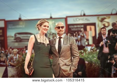 Felicity Blunt, Stanley Tucci  attend the premiere of 'Spotlight' during the 72nd Venice Film Festival on September 3, 2015 in Venice, Italy.