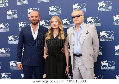 Actress Paulina Chapkov, Jerzy Skolimowski, Wojciech Mecwaldowski   attend a photocall for '11 Minutes' during the 72nd Venice Festival at Palazzo del Casino on September 9, 2015 in Venice, Italy.