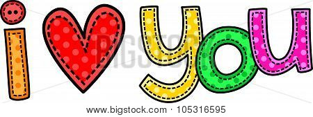I Love You Stitch Text