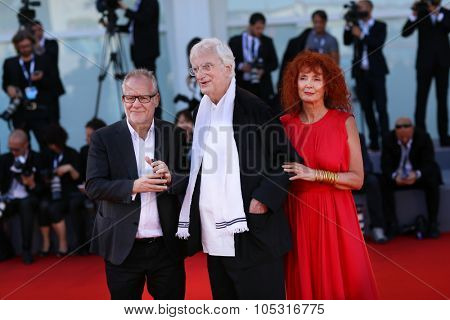 Thierry Fremaux, Bertrand Tavernier, Sabine Azema attend the Golden Lion For Lifetime Achievement 2015 Award Ceremony during the 72nd Venice Film Festival at on September 8, 2015 in Venice, Italy.