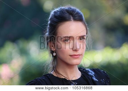 Venice, Italy - 10 September 2015: Actress Stacy Martin attends a premiere for 'Taj Mahal' during the 72nd Venice Film Festival at Sala Darsena