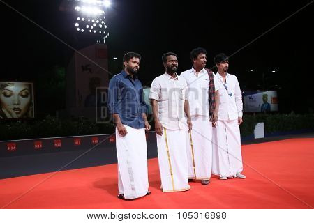 Actor Dinesh Ravi, director Vetrimaaran, actor Samuthirakani and guest attends premiere for 'La Calle De La Amargura' during the 72nd Venice Film Festival  on September 10, 2015 in Venice, Italy.