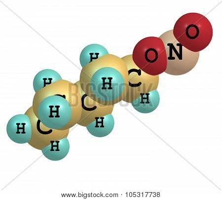 A model of Amyl Nitrite. It is used to treat angina and as an antidote to cyanide poisoning. 3d illustration