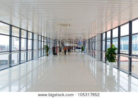 HANOI, VIETNAM - MAY 11, 2015: Noi Bai International Airport interior. Noi Bai International Airport is the largest airport in Vietnam. It is the main airport serving Hanoi.